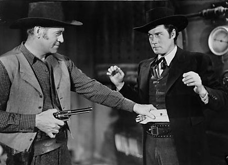 Clayton Moore and Roy Barcroft--Jesse James Rides Again