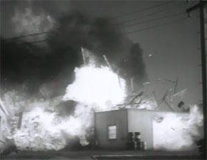 G-Men vs. the Black Dragon paint factory explosion