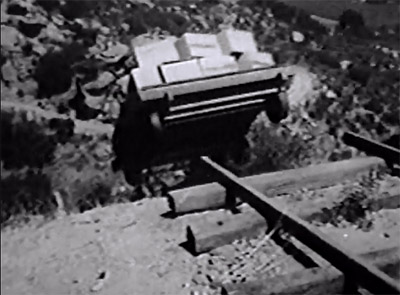 Deadwood Dick--handcar cliffhanger shot