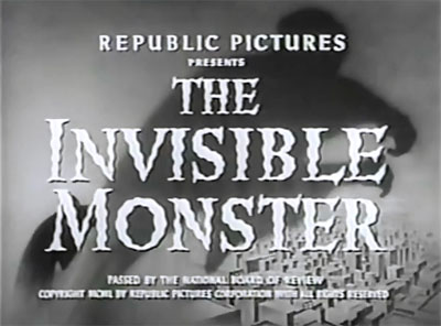 the invisible monster Having developed a formula, that when applied to clothing renders a person  invisible, an evil genius calling himself the phantom ruler is bent on creating  an.