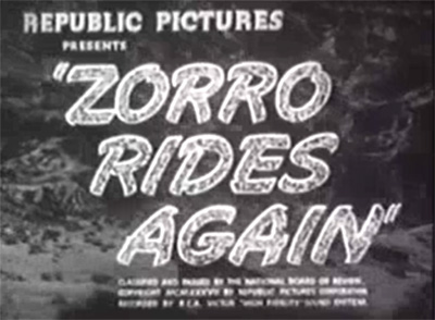Zorro Rides Again titles