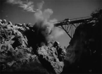 Adventures of Captain Marvel--bridge cliffhanger