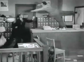 The Crimson Ghost--office fight