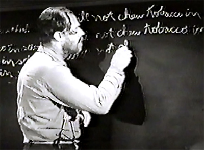 The Phantom Rider 2--Nugget at blackboard