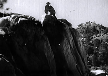 Scarlet Horseman--stock-footage cliff fight